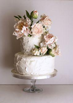 Blush Peonies And Hydrangeas Wedding Cake By Jaime Gerard Cakeblush Sugarpeonies
