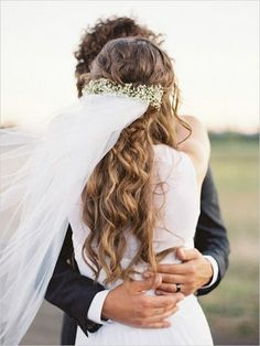 long wedding hairstyle ideas with flower crown and veil