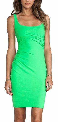 Bright Green Fitted Tank Dress
