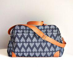 DIAPER BAG Nappy bag Triangle grey hearts by ElevenRoostersJunior