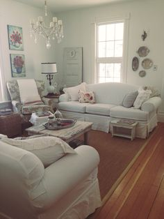 A view of my sitting room Cottage Style, Farmhouse Style, English Homes, White Sofas, Rustic Charm, Home Furnishings, My House, Sweet Home, Shabby Chic