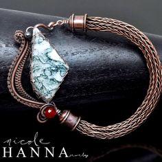 wire wrap bracelet,wire work,tree agate,carnelian bracelet,copper bracelet,viking knit bracelet,viking knit jewelry,wire weave,artisan jewelry,handcrafted jewelry