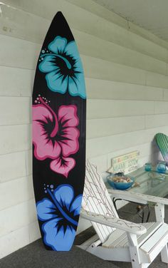 6 Foot Wood Hawaiian Surfboard Wall Art Decor or Headboard kids room Black base with Teal, Pink & Blue Flowers