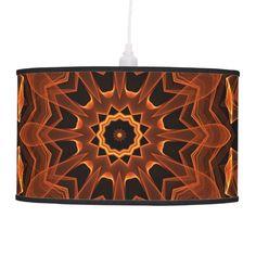 Flame Sunflower Mandala, Abstract Orange Flower Pendant Lamp #PendantLamp #FlameSunflowerOrangeMandala Design by @DianeClancy for more beautiful art from this designer visit http://www.zazzle.com/DianeClancyMandalas?rf=238656250999501047&tc=PinPODShoppers