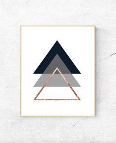 Geometric Triangles Rose Gold Wall Art.  Digital Prints