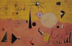 Joan Miró - Paisaje catalán, el cazador (1923-1924). Surrealismo. Óleo sobre lienzo, de 65 x 100 cm. The Museum of Modern Art (New York), EE.UU.