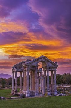 The ancient Temple of Aphrodite, the love goddess ~ is located in Aphrodisias, Turkey. All that remains of the temple consists of 14 of the 40 Ionic columns and the foundations of the cellar section.