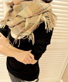Morpheus Boutique  - Beige Plaid Pashmina Wool Plaid Shawl Winter Long Scarf Wrap, $24.99 (http://www.morpheusboutique.com/beige-plaid-pashmina-wool-plaid-shawl-winter-long-scarf-wrap/)
