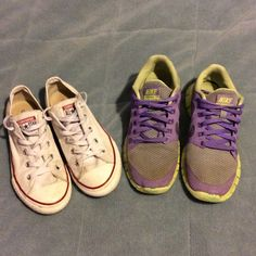 Nike Free 5.0 & Converse chuck Taylor's Two-for!!! Nike 5.0 size 4.5Y and Converse Chuck Taylor optic white size 3. Well worn but no rips or tears and soul in very good shape. Price reflects worn condition. Great shoes with a lot of life left!! Nike Shoes