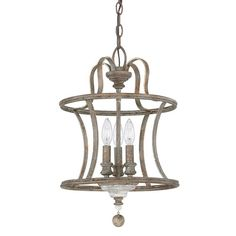 """$163.95 Small is 13Dia x 20H, 3x 60watts, 120"""" of wire/180"""" of chain. French Antique look with  NOTE: This fixture can be hung on a chain OR as a semi flush mount. Found it at Joss & Main - Justina Pendant"""