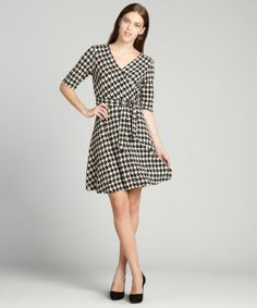 SD Collection cream and black houndstooth faux wrap flare dress