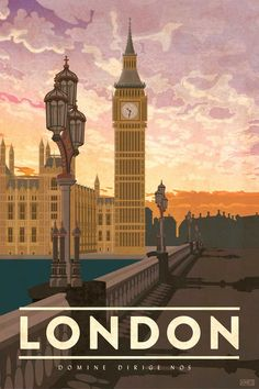 Travel Poster featuring the iconic Big Ben clock tower in London, England. The perfect gift for the world traveler. By artist Missy Ames vintage London, England Vintage Travel Poster Posters Paris, Posters Decor, London Poster, Art Deco Posters, London Art, Poster Art, Retro Poster, Kunst Poster, Poster Design