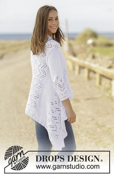 Hummingbird - Jacket knitted sideways with lace pattern and ¾ sleeves in DROPS Paris. Free pattern by DROPS Design