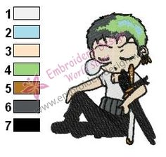 Zoro and his Nap One Piece Embroidery Design