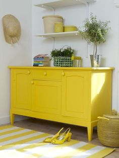 yellow furniture trend growing on me <3 although I painted a piece yellow last night but had to paint it back to white....