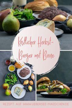 Würziger Blauschimmelkäse trifft süße Birne: Burger mit Gorgonzola ist eine unschlagbar leckere Kombination. Braucht nur wenige Zutaten und wenig Zeit, bis dieser Burger fertig gekocht ist. Mit Brioche-Brötchen und klassischem Hackfleisch-Patty. | Recipe for burger with sweet pear and salty blue cheese - perfect combination, you have to try it. Fabulous Foods, Acai Bowl, Easy Peasy, Breakfast, Germany, Blog, Pie, Blue Cheese Burgers, Grilled Bell Peppers