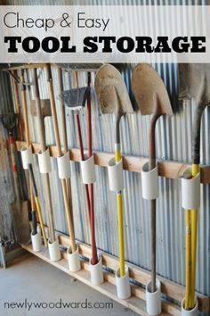 Inspiration for garage storage - using scrap PVC to store handled tools. Such a great organizational method for messy garages and sheds. #garage #organization #tools Garage Wall Organizer, Wall Organization, Garage Walls