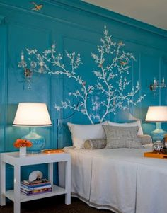 I love the branch tracery as a headboard ...and turquoise, who doesn't love turquoise?