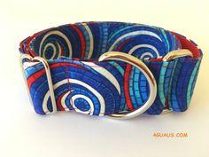 Collar perro espiral azul y rojo, Collar martingale, Collar galgo, Martingale dog collar, Collares para perros, Correa perro, Azulon, rojo de 4GUAUS en Etsy