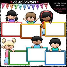 This 12 piece set comes with 6 colored clip art and 6 black and white images (black lines with a white fill) as shown in the thumbnail and preview images. They are 300dpi in transparent PNG and non-transparent JPG formats. This Colorful Whiteboard Kids set features boys and girls with large whiteboards / dry erase boards with colorful frames that you can customize with your own text including: 2 light skinned boys with whiteboards / dry erase boards (colored clip art and black and white…