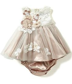 Rare Editions Baby Girls 3-24 Months Color Blocked Floral-Appliqued Dress