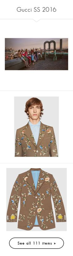 """""""Gucci SS 2016"""" by sylandrya ❤ liked on Polyvore featuring men's fashion, men's clothing, gucci mens clothing, mens clothing, men's apparel, jackets, men, ready to wear, trousers & shorts and mens embroidered pants"""