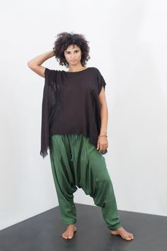 DHOTI TROUSERS / Emerald Green / 100% Silk / by FARAboutiques