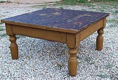 Primitive country painted pine farm coffee table reproduction turned legs furniture for a farmhouse decor. $765.00, via Etsy.