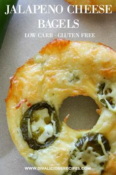 Low Carb Recipes These low carb bagels are flavoured with spicy jalapeno and topped with cheese. Baked with a variation of the Fathead Dough it is a cheesy, low carb delight. - A spicy Fathead dough bagel Low Carb Meal, Low Carb High Fat, Healthy Low Carb Recipes, Diet Recipes, Cooking Recipes, Protein Recipes, Low Carb Food, Healthy Meals, Vegetarian