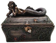 BRONZE mermaid SECRET TREASURE CHEST jewelry box NEW tr