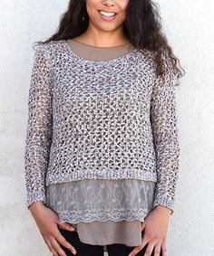 Look at this Simply Couture Taupe Net Layered Sweater on #zulily today!