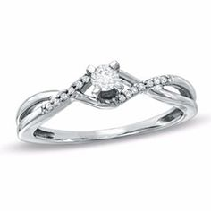 1/6 Ct Real Diamond Twine Promise Ring In 10K White Gold # Free Stud Earrings by JewelryHub on Opensky