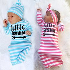 6571af26456a newborn baby girl boy clothes sets long infant girls t shirts brother  sister clothing suits boys hat girls toddler headwear set