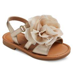 Toddler Girls' Jacky Large Chiffon Flower Slide Sandals Cat & Jack - Gold 10, Toddler Girl's