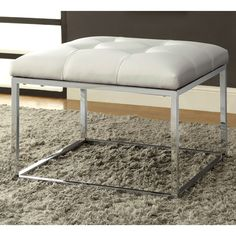 Accent your room with sophistication and elegance with this tufted ottoman bench. Features a shiny chrome frame and tufted upholstered cream-white leatherette seat for supreme comfort and style. chrome finishd frame blends in with many decors.