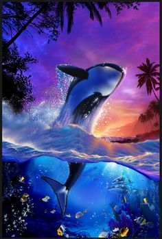 Whale Paint By Numbers Kits Orca Art, Dolphin Art, Whale Art, Beautiful Sea Creatures, Animals Beautiful, Fantasy Paintings, Animal Paintings, Orcas, Whale Painting