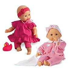 """Tidoo Bath Baby Doll by Corolle by Hearth Song. $39.98. Tidoo Bath Baby Doll by Corolle. Specially designed by Corolle for bath time fun, this baby doll 12"""" is soft and posable, and so light that she floats Filled with polystyrene beads that dry quickly, shes a favorite playmate out of the tub, too. Lay her down for a nap and her eyes close; she can even suck her thumb. After her bath, just hang her to dry with the hangtag on her back Poppy has brown eyes and comes dressed..."""