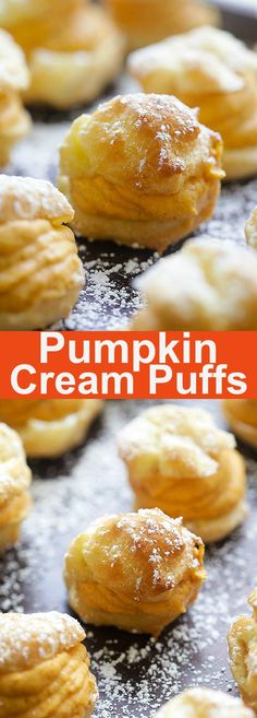 Cream Puffs - puffy choux pastry filled with sweet pumpkin cream filling. These pumpkin cream puffs are perfect for the holidays Pumpkin Recipes, Fall Recipes, Sweet Recipes, Holiday Recipes, Cream Puff Recipe, Best Pastry Cream Recipe, Cream Puff Filling, Profiteroles, Puff Pastry Recipes