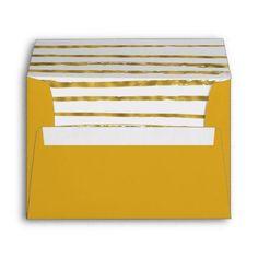Faux Gold Foil Striped and Elegant Envelope