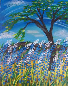 Bluebonnet painting from Whimsy Art Studio in San Antonio, Texas Church Crafts, Blue Bonnets, Studio, San Antonio, Texas, Painting, Night, Design, Art