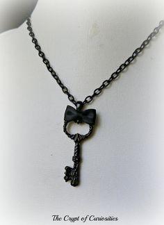 Black Gothic Victorian key necklace. by TheCryptOfCuriositie, £7.00