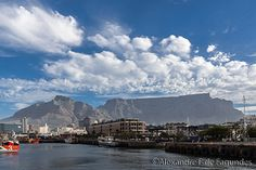 Waterfront docks and Table Mountain, Capetown, South Africa