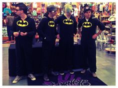 Marianas Trench wearing Batman onsies to their Journeys in-store signing at Deptford Mall!