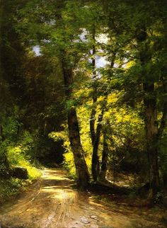 The Road to the AuSable -  Roswell Morse Shurtleff. Owner/Location: Adirondack Museum (United States). Dates: circa 1893. Artist age: Approximately 55 years old.  Dimensions: Height: 101.6 cm (40 in.), Width: 76.2 cm (30 in.).  Medium: Painting - oil on canvas.: