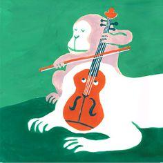 """今日のイラスト『おさるのバイオリン』—""""The Curious Violin"""""""