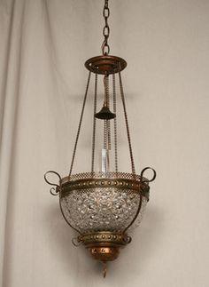Oil Pendant Conversion w/ Victorian Glass Bowl, c. 19th Century. #Vintage #Lighting www.myrlg.com