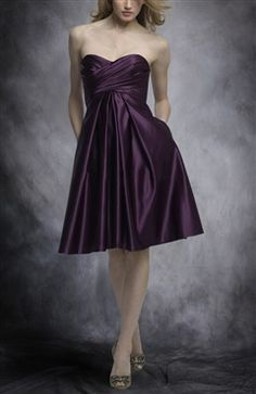 Satin Purples Strapless Sweetheart Knee-length Bridesmaid Dresses - Outerdress.com