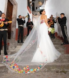 mexican wedding dress \ weddings mexico - mexican wedding cookies - mexican wedding - mexican wedding dress - mexican wedding ideas - mexican wedding cakes - weddings in mexico - weddings in mexico haciendas Lilac Wedding, Dream Wedding Dresses, Wedding Gowns, Colored Wedding Dress, Charro Wedding, Mexican Themed Weddings, Mexican Fashion, Mexican Dresses, Mexican Wedding Dresses