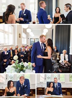 Wedding ceremony photos at Mayfair Library, with the bride dressed all in black. The Office Wedding, Registry Office Wedding, Library Wedding, City Hall Wedding, Wedding Ceremony, Civil Marriage Ceremony, Wedding Group Photos, Courthouse Wedding Dress, Civil Wedding