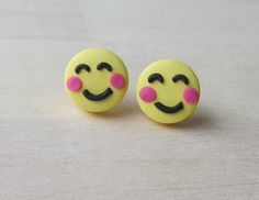 Emoji Smiley Face Polymer Tiny Stud earrings by ColorfulClay